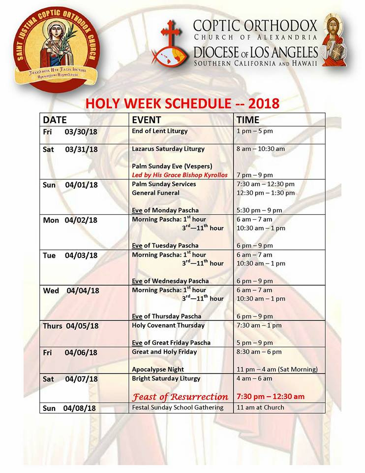 Holy Week Schedule 2018